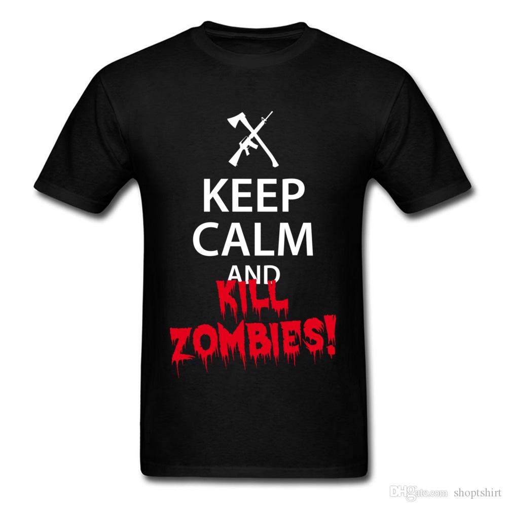 Keep Calm And Kill Zombies Title Quotes Font T Shirt Mens Summer