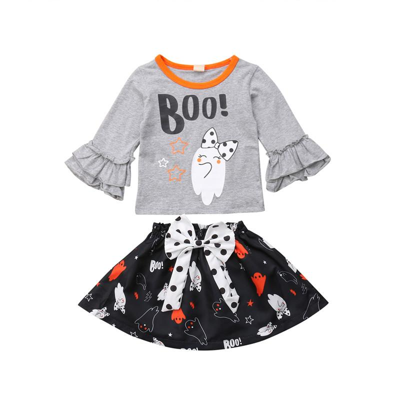 64b7eb446 2019 Halloween Toddler Newborn Baby Girl Clothes Ghost T Shirt Top Bowknot  Skirt Dress Outfit Cotton Cute Kids Children Clothing Set From Buycenter,  ...