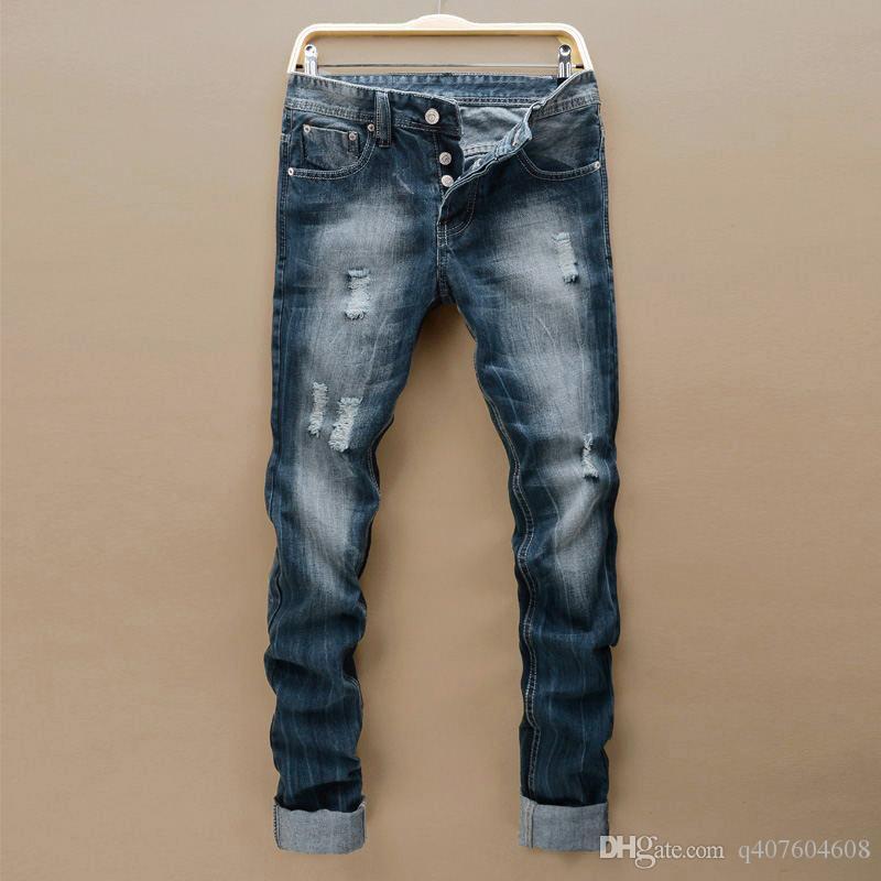 Compre Slot Beckham Jeans Rectos Para Hombres Moda Juvenil Four Seasons Classic Blue Jeans Simples Tamano 28 42 A 29 37 Del Q407604608 Dhgate Com