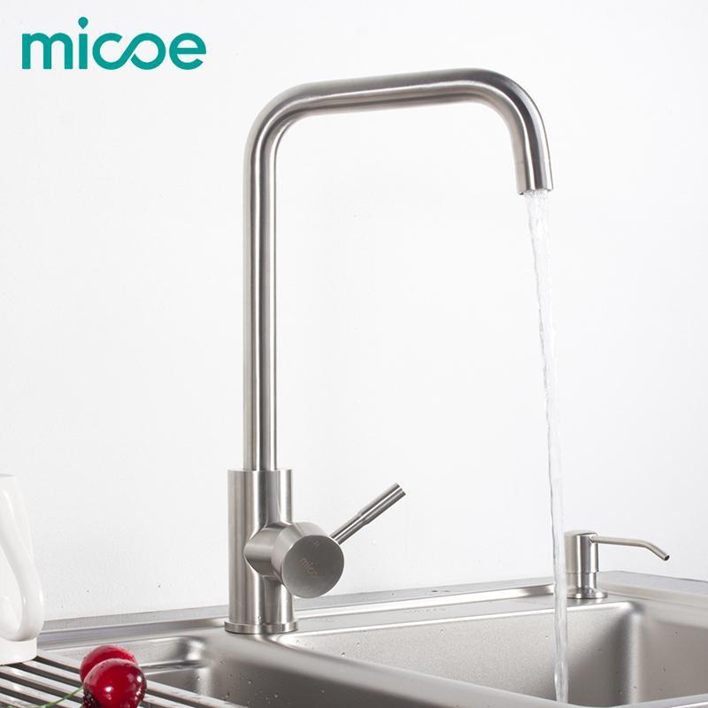 Best Micoe Kitchen Faucet Stainless 360 Swivel Single Handle Kitchen ...
