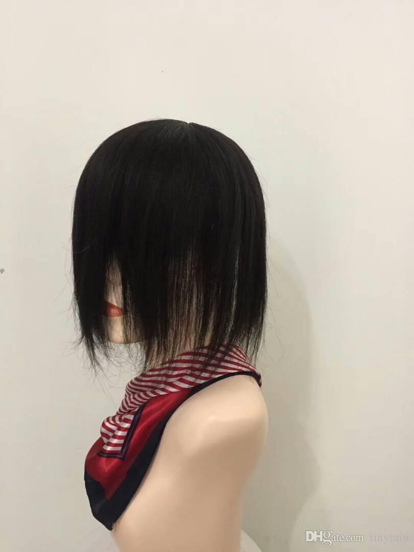 glueless lace wigs 15cm short hair 56cm head cap heavy density natural color