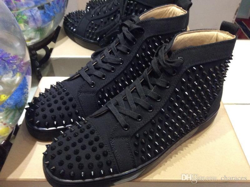 2018 Black Canvas Lace-up Men Women Red Bottom Sneakers Brand High Top And  Full Black Spike For Casual Flats Shoes Men Shoes Size 35-47 Online with ... b218500710c1