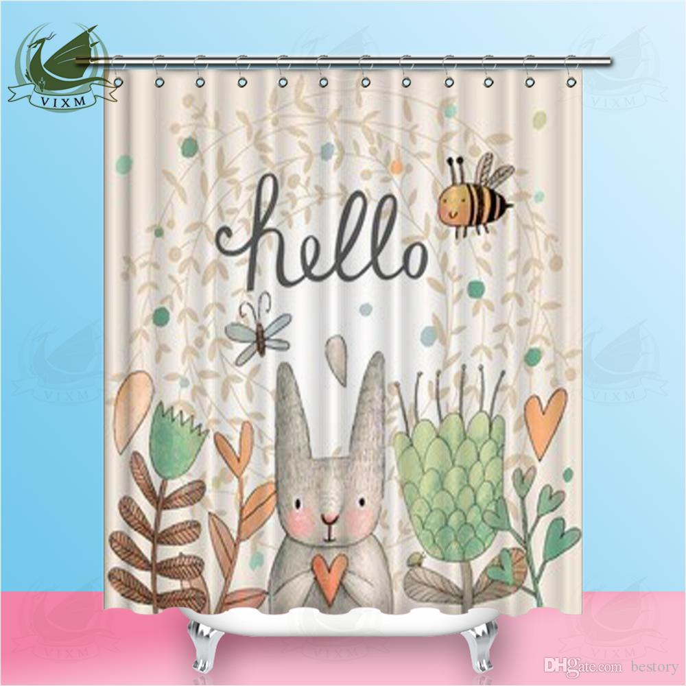 2019 Vixm Home Easter Egg Rabbit Pattern Shower Curtain Mildew Resistant Polyester Fiber For Bathroom With Hooks Ring 72 X From Bestory 1665