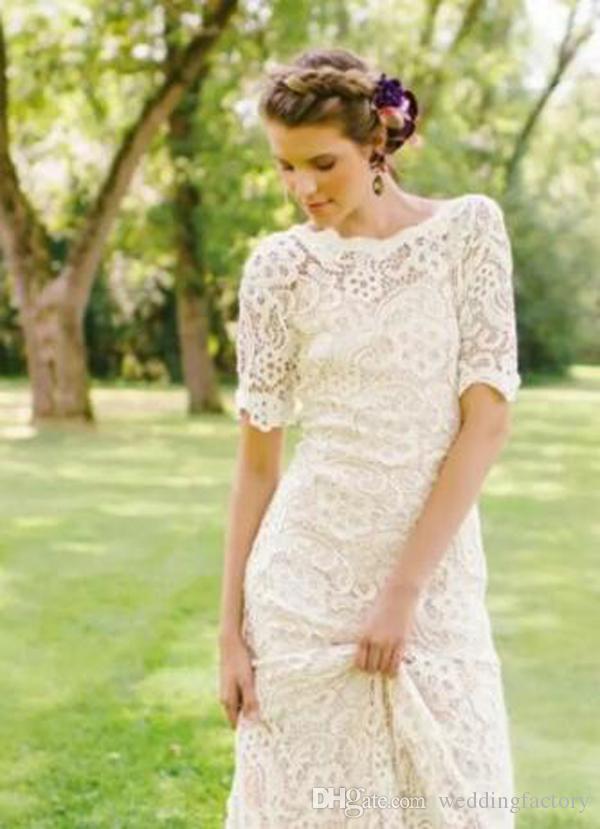 Bohemia vestidos de novia columna de la envoltura Backless encaje completo Boho vestidos de novia con ilusión mangas cortas barrido de tren barato de alta calidad