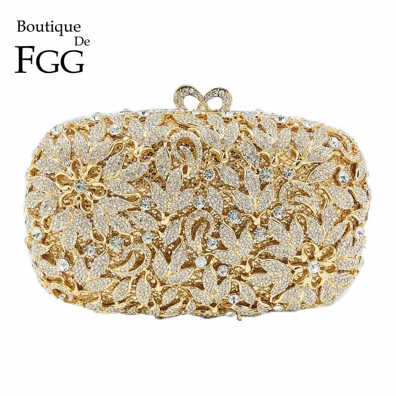 594915d22c Boutique De FGG Classic Hollow Out Flower Women Gold Crystal Evening Purse  Metal Clutch Bag Wedding Cocktail Prom Bridal Handbag