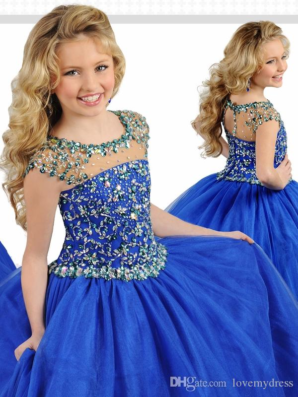 Royal Blue Girls Pageant Dresses Cheap Sheer Cap Short Sleeves Jewel neck Crystal Tulle Princess Designer Party prom Dresses For Kids Girls