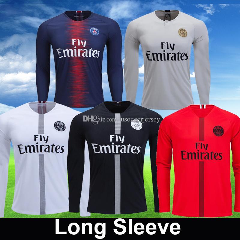87b5d1d8af7 2019 Psg Black White Red Maillot 3rd Long Sleeve T Shirt VERRATTI Soccer  Jerseys Maillot De Foot MBAPPE CAVANI LS 2019 Football Kits Shirt From ...