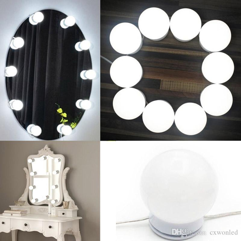 2018 Hollywood Diy Vanity Lights Make Up Mirror Led 10 Bulbs For Dressing Table With Dimmer And Power Not Included From Cxwonled