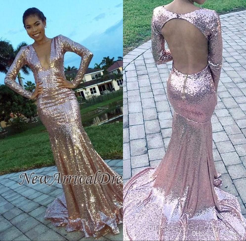 Pink Sequins Mermaid Prom Dresses 2018 For Black Girl Sexy Long ...