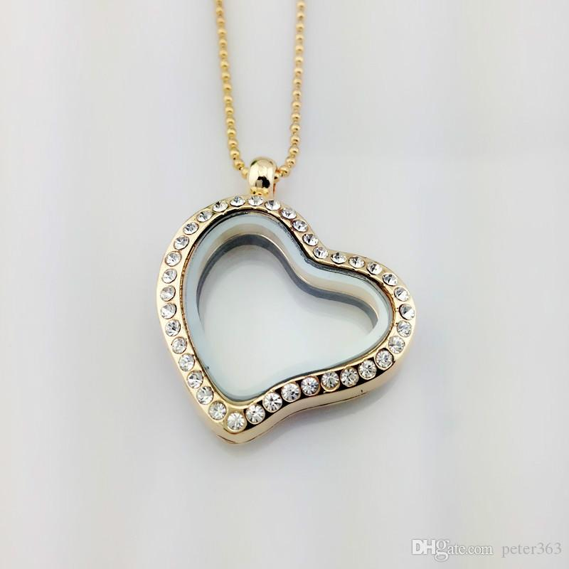 Crystal Floating Locket Pendant Necklace Leaving Memory Locket Pendant Necklaces With 27 Inch Bead Chains Fashion Jewellery