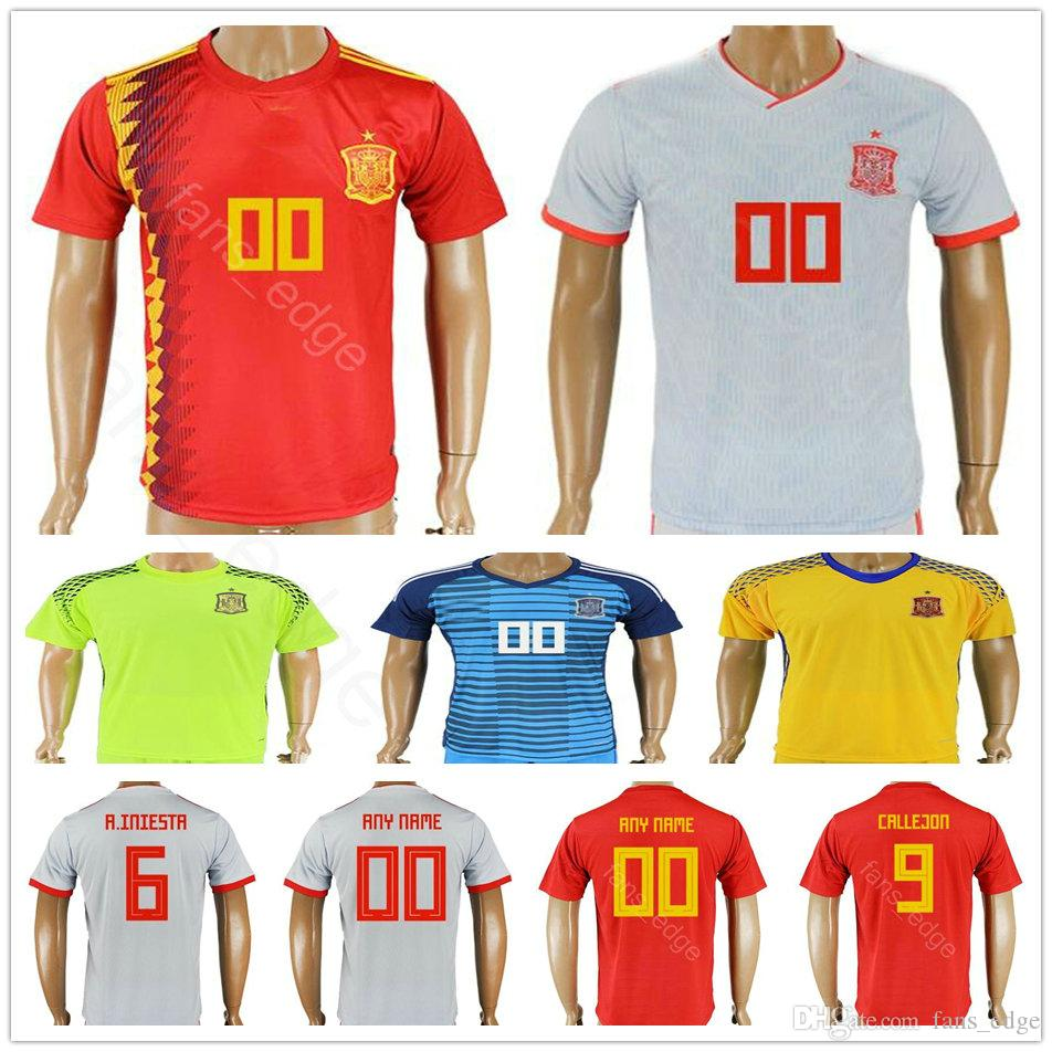 7abffd2d288 2019 2018 World Cup Spain Soccer Jerseys 5 SERGIO 6 A.INIESTA 7 MORATA SAUL  NIGUEZ 9 CALLEJON Men Women Kids Youth Football Shirt From Chen shop