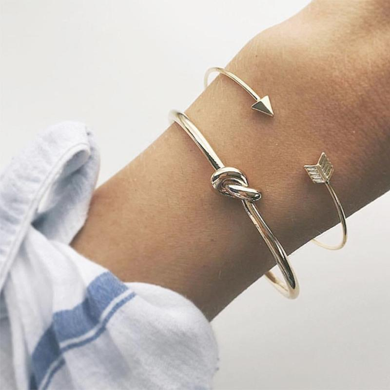 ce2f7c5f25112 High Quality Exquisite Graceful 2PCS/Set Allergy Free 2018 Unique Fashion  Minimalist Golden Arrow Knotted Opening Bravelet Set