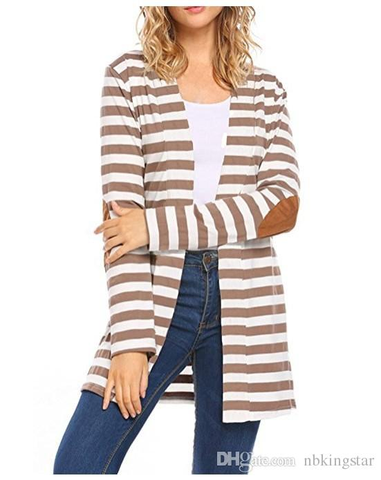 New 2018 Autumn Outerwear Women Long Sleeve Striped Printed Cardigan Casual Elbow Patchwork Knitted Irregular Sweater Plus Size