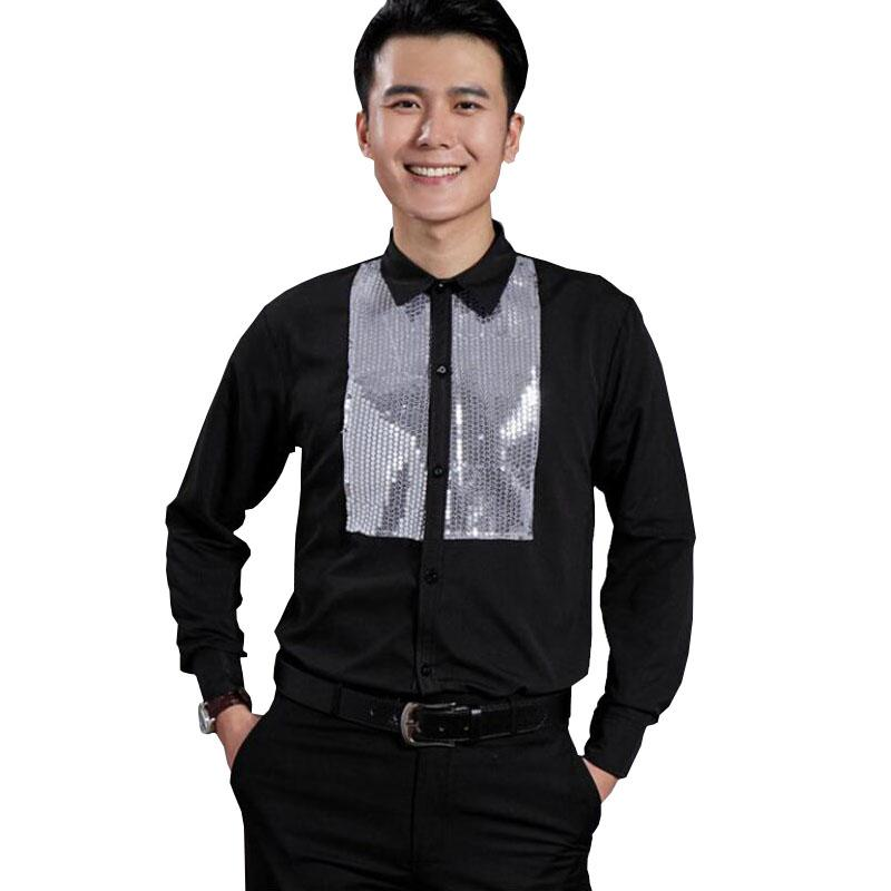 2018 2018 New Men S Glittering Sequined Shirt Shirt Stage Performance  Clothing Dance Gala Hosted Chorus Shirts High Quality M~4xl From Rachaw 584402c5872e