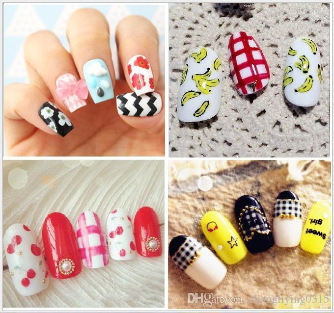 Diy Glitter Japan Nail Art Stickers Cute Cartoon Designs Water ...