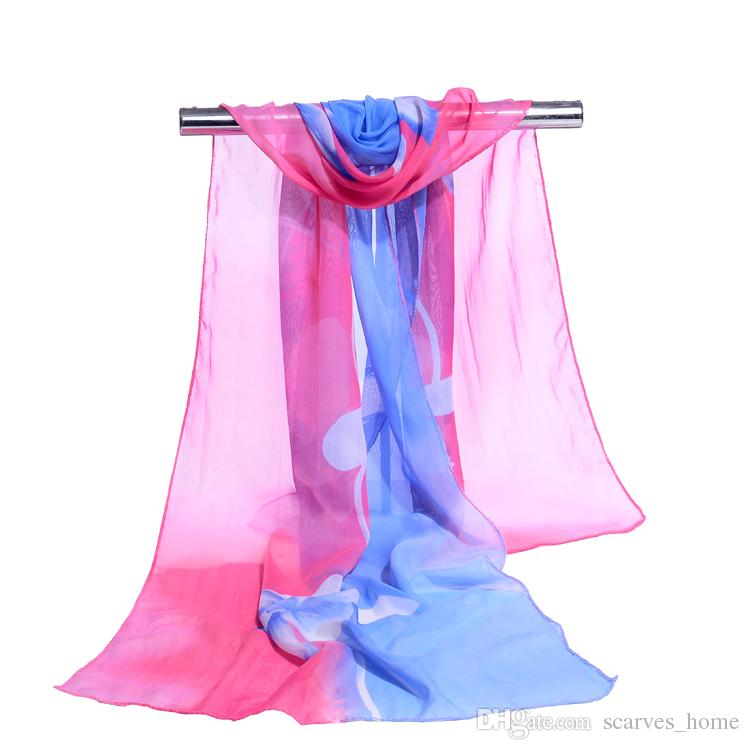 Wholesale Summer Scarf Woman Floral Style scarves Orchid Flower long Chiffon Silk Scarfs Muslim Hijabs Scarf