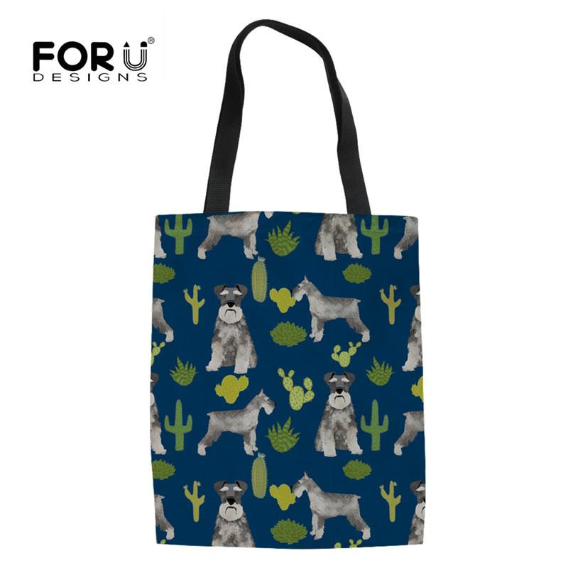 d6ef859a752 FORUDESIGNS Schnauzer Print Reusable Grocery Storage Bags Canvas Shopping  Bag Women Foldable School Teen Girls Casual Totes Bag Top Bags Love  Reusable Bags ...