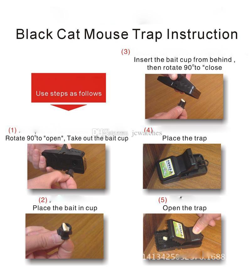 2 adet / takım Siyah Kullanımlık Fare Fareler Sıçan Tuzak Killer Kontrol Haşere Alıcı Catcher Haşere Reddetmek
