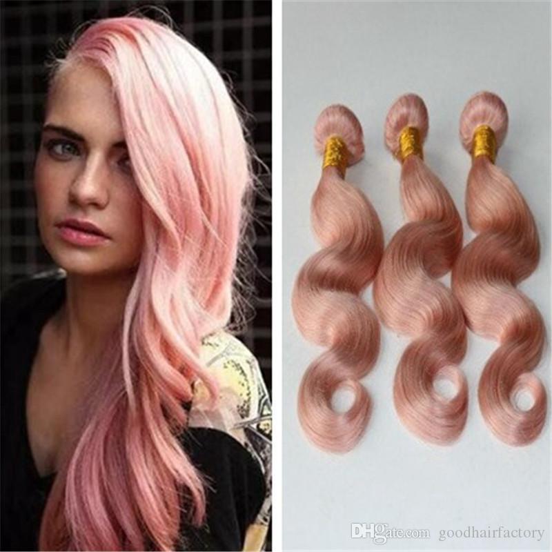 Good Quality Hair Weaves Pink Color Hair Bundles Body Wave Peruvian