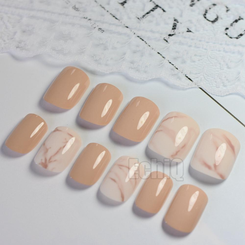 Shiny Fake Nail Tips Dude White Marble Full Cover False Nails Diy ...