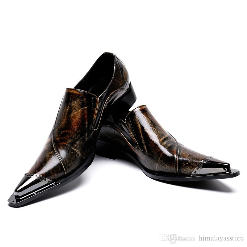05493d00b8e7d9 Mens Dress Shoes Flats Genuine Leather Wedding Shoes Mens Formal Business  Man Oxfords Shoes For Work Loafers For Men Red Shoes From Himalayasstore,  ...