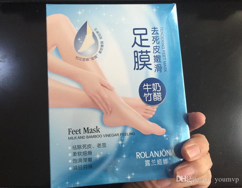Rolanjonaの足マスクミルクと竹の酢の足マスクの皮の皮の皮の剥離療法の育成38g /ペア