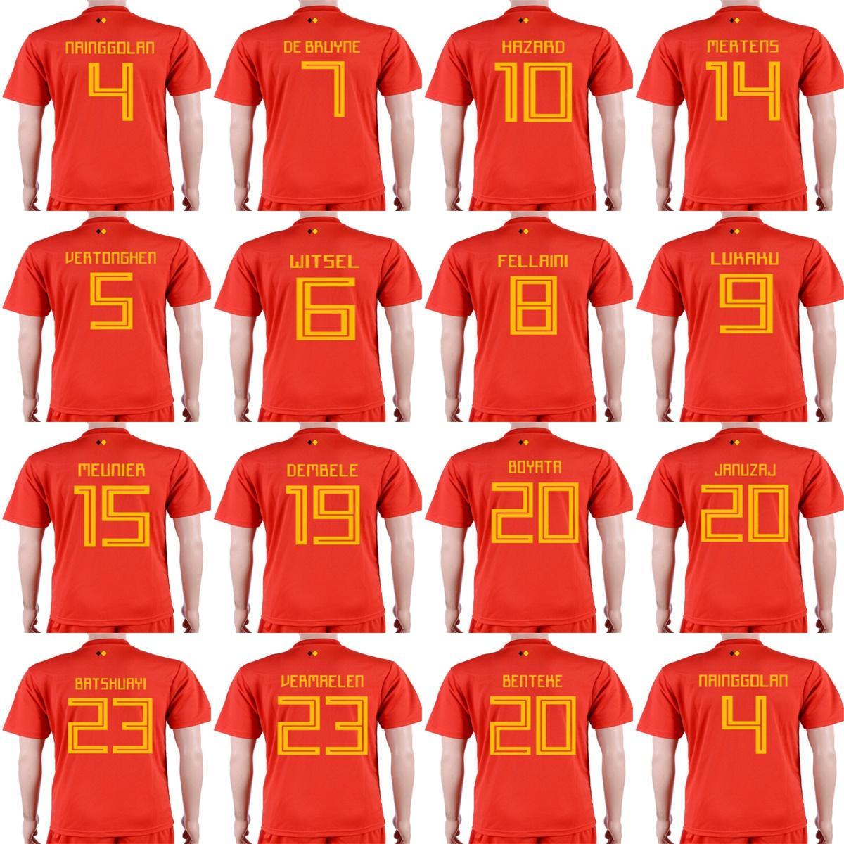 6679e6b81 Mens Womens Kids Custom 2018 World Cup Belgium Soccer Jerseys 4 ...