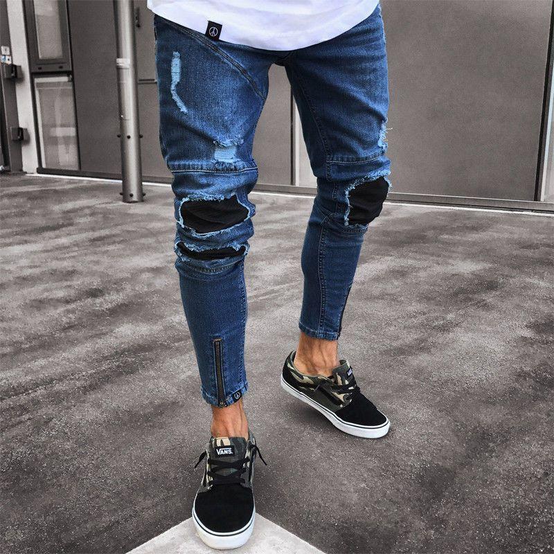 13ab360089991 2018 Nouvelle Marque De Mode Hommes Déchirés Biker Jeans Détruit Frayé Slim  Fit Pantalon En Denim Élégant Hommes Trou Denim Pant S-3XL