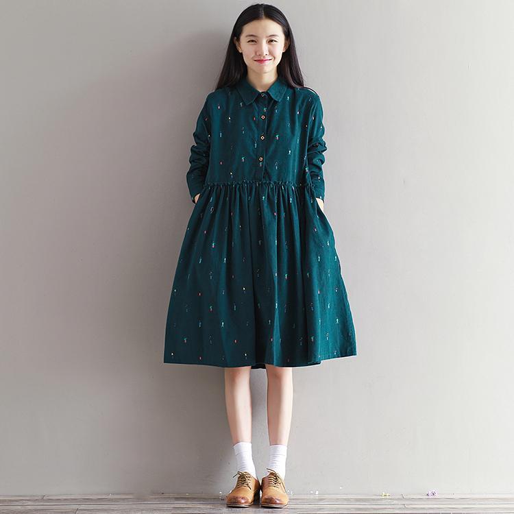 hot sale online acaa5 28d6d Mori Mädchen Herbst Winter Baumwollkleid Neue Frauen Langarm Gedruckt Cord  Kleider Weibliche Grüne Vintage Vestidos Taschen M-XXL