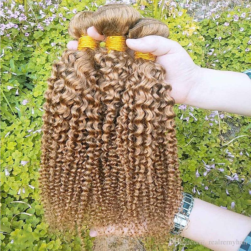Colored Peruvian Hair 3 Bundles Kinky Curly Cheap 27# Honey Blonde Hair Extensions Brazilian Peruvian Malaysian Virgin Human Hair Weaves