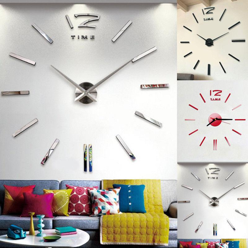 3d Large Wall Clock Mirror Sticker Big Watch Sticker Home Decor