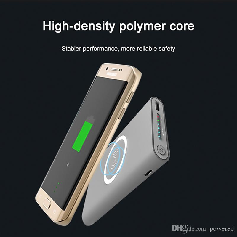 Hot Qi 10000mAh Power Bank Wireless Mobile Phone Charger for iPhone 8 X for Samsung S8 so on Wireless External Battery Pack
