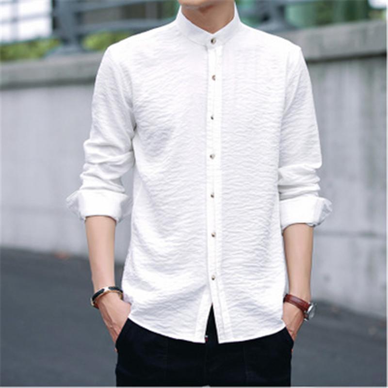 74c6eb881 Compre Moda Camisa Blanca De Manga Larga Para Hombres