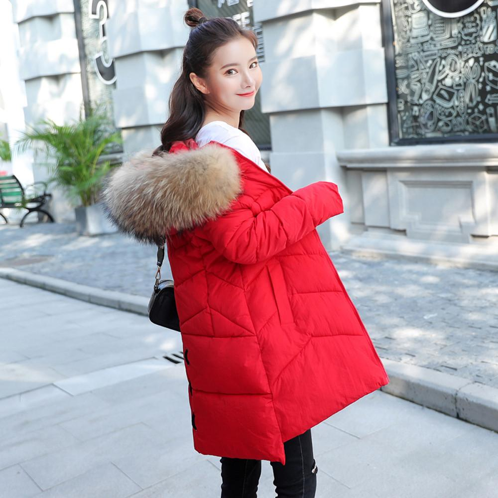 2707fd6c6 Parka Women Winter Coats Long Cotton Casual Fur Hooded Jackets Ladies Warm  Winter Parkas Female Overcoat Plus size Coat befree