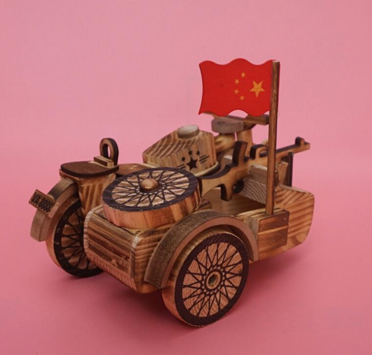 Wooden handicraft simulation side of the three wheels motorcycle art craft creative household model wood decoration birthday present