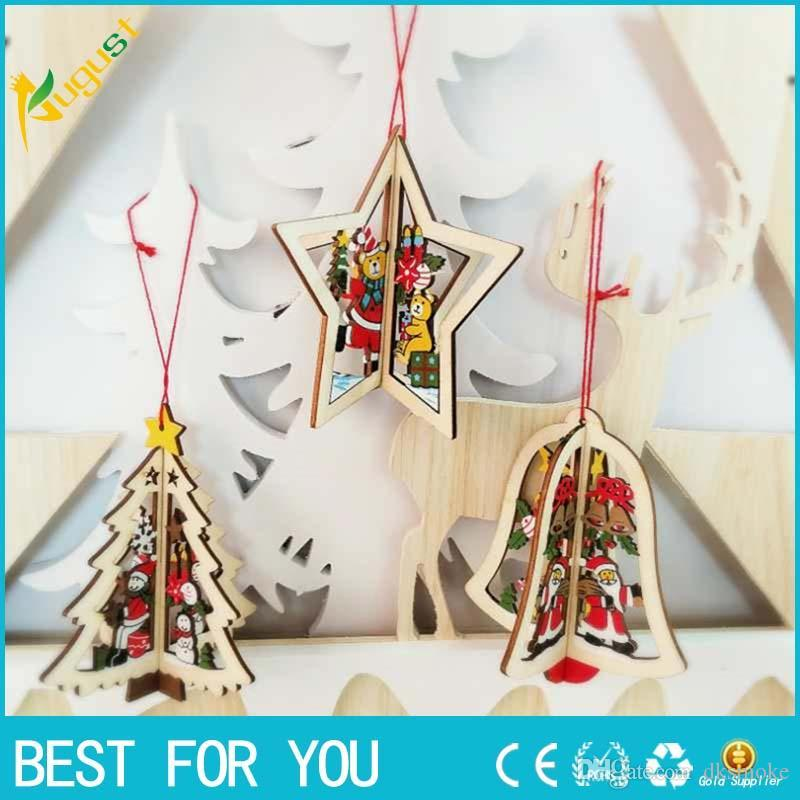 christmas tree ornament hanging xmas tree 3d wooden christmas pendants for home party decorations cheap xmas decorations cheap xmas decorations online from