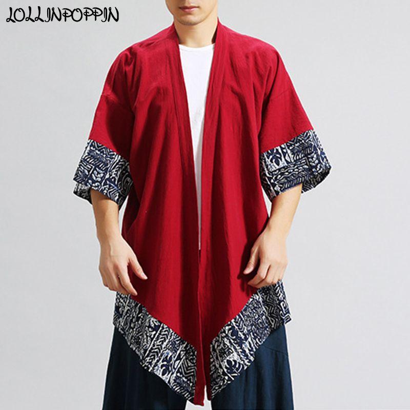307462c7482f1 Chinese Japanese Style Men Loose Kimono Jacket Open Placket Linen Cardigan  Asymmetric Boom Spring Streetwear Man Coats Nice Mens Jackets From Viviant