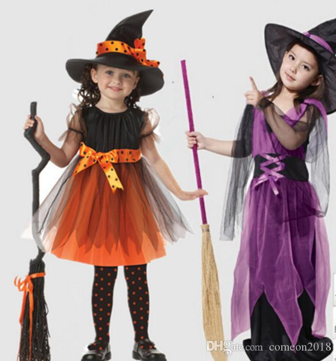 Kids Carnival Party Dresses Cute Factory direct sales halloween kids costume girl dress cosplay Witch Halloween Party Costume for child