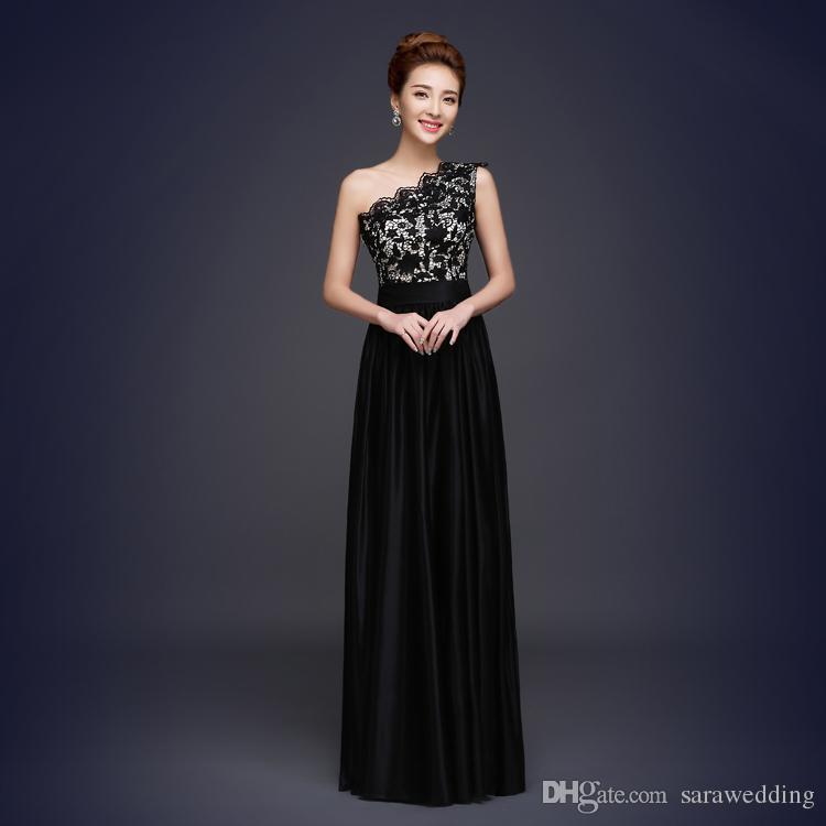 Vestido de noche largo de raso negro Vestido de fiesta largo Nuevo Vestido de noche de encaje hasta Vestidos de fiesta baratos