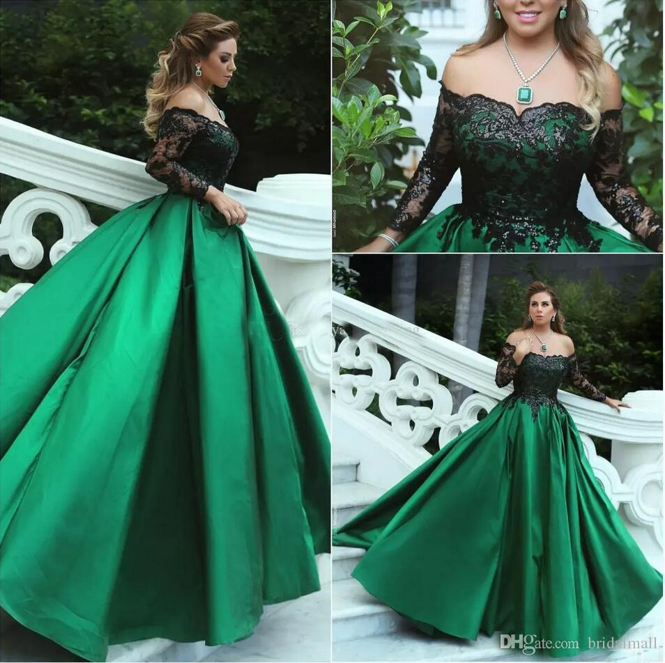 Green Black Ball Gown Prom Dresses 2018 Off Shoulder Sheer Long ...