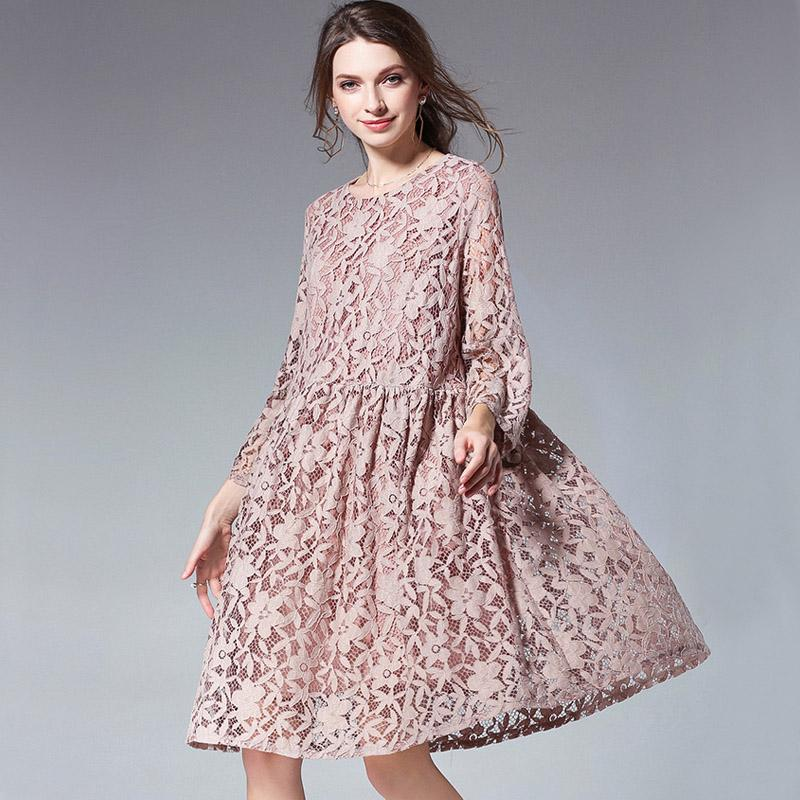 2019 Plus Size Black Lace Dress Women 3 4 Sleeve 4xl Short Dresses 2018  Spring Casual Female Dresses Lotus Pink Vestidos 2398LY From Silan 2d416047ec