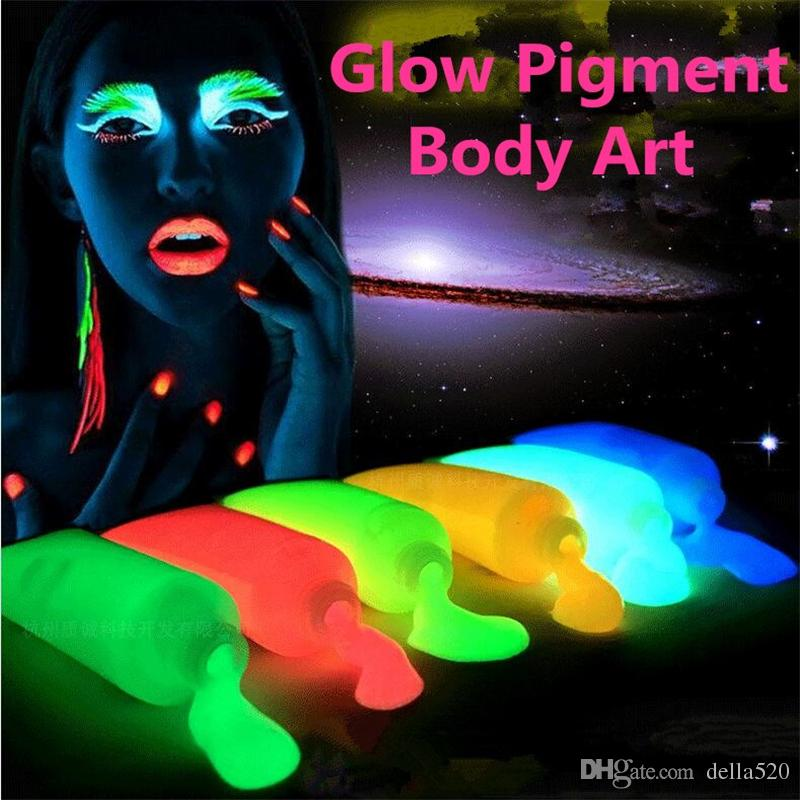Neon light Glow in the dark Pigment Body Painting,Halloween/Party Glowing Paint Fluorescent UV body art Make up pigment