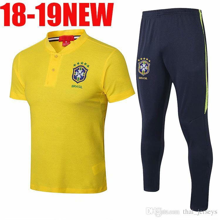 Brazil training suit 2018/19 brazil short sleeves training kits Maillot de foot brazil mens tracksuits tight pants sport suit soccer Unif
