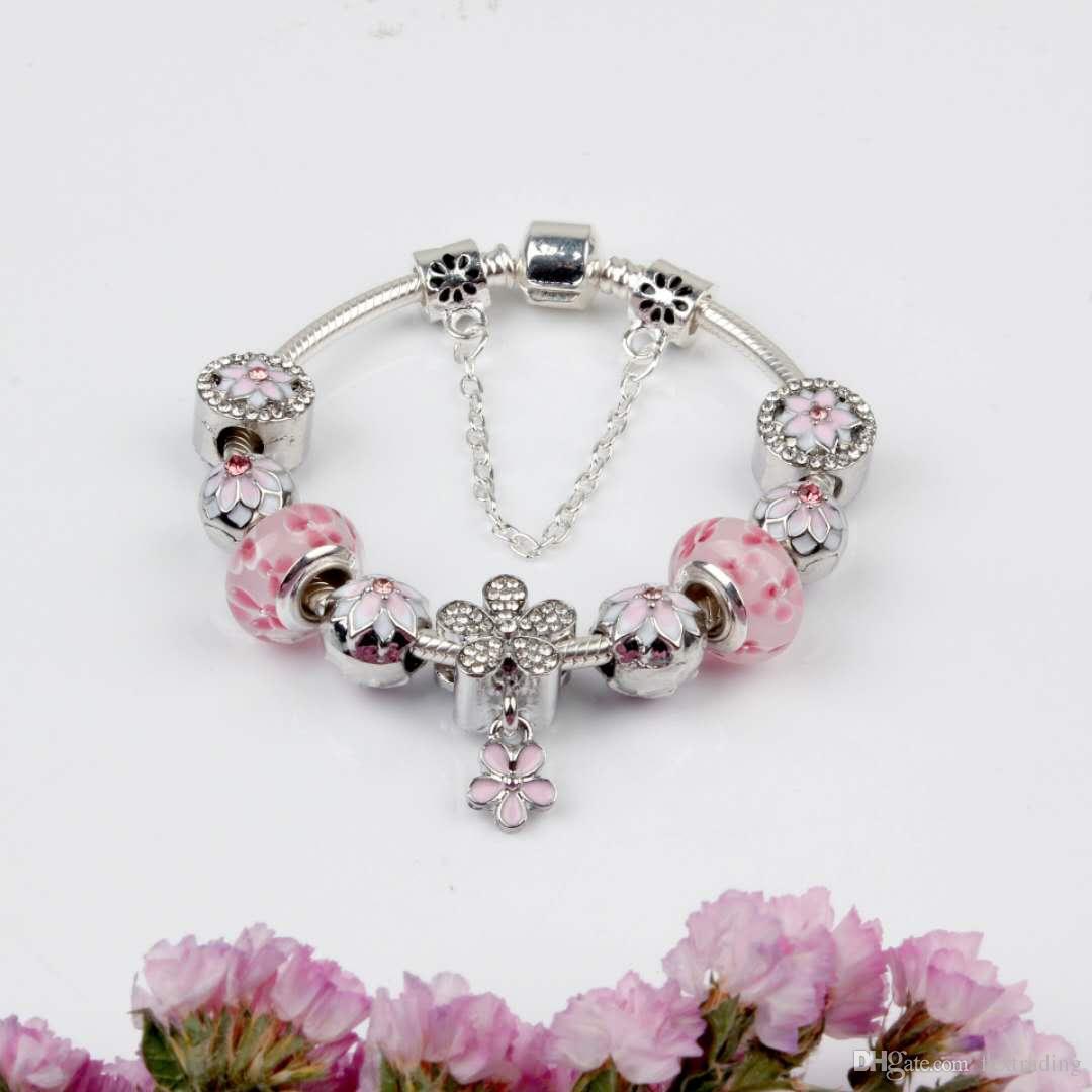 Magnolia gotea la pulsera Magnoliaeflora 925 Accesorios pulseras del encanto pendiente de la flor de melocotón brazalete del encanto de la joyería como regalo de DIY boda