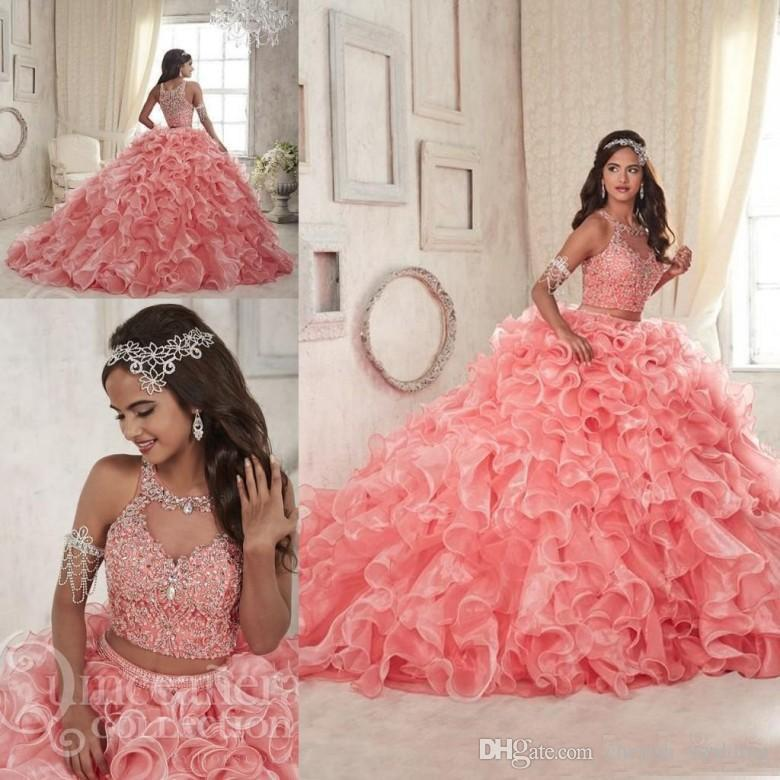 dcea4a29bcb Coral Two Piece Quinceanera Dresses 2018 Beaded Crystals Ruffles Court Train  Sweet 16 Organza Prom Party Gowns Pageant Party Wear Cheap Dama Dresses  Cute ...
