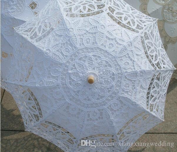 Parasol del paraguas de la vendimia del cordón con el ventilador para la boda nupcial de la dama de honor Hecho a mano de la manija de la decoración del partido apoyos de la foto