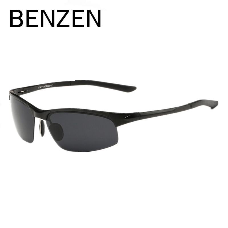 2f101c072 Compre BENZEN Óculos De Sol Dos Homens Polarizados Al Mg Grain Design Óculos  De Condução UV Óculos De Sol Para Homens Oculos De Sol Masculino Com Caso  9090 ...