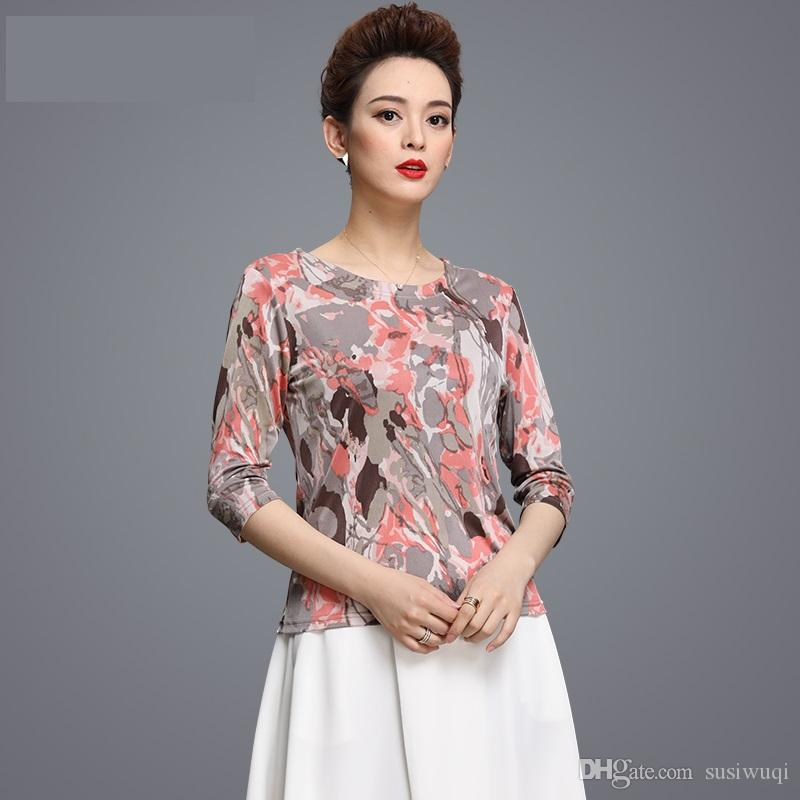 938f092c2a0 Women T Shirt Plus Size Designer Chinese Style 100% Silk Three Quarter  Sleeve Scoop Neck Women Clothes Women T Shirt Plus Size Designer Online  with ...
