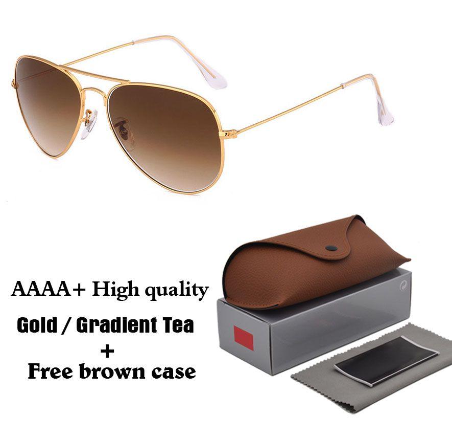 High Quality Classic Pilot Sunglasses Brand Designer Mens Womens Sun  Glasses Eyewear Metal Frame Glass Lenses Brown Case Wiley X Sunglasses  Mirror ... 96411e6f1