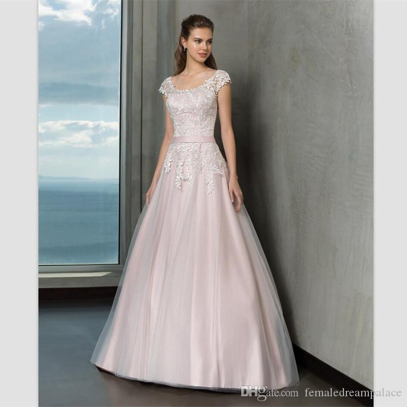 compre 2018 elegantes vestidos de novia de satén rosa claro custom
